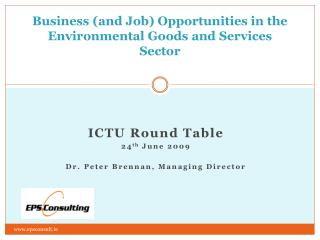 Business and Job Opportunities in the Environmental Goods and Services Sector