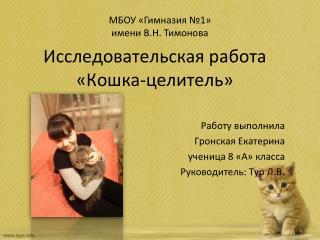 Исследовательская работа  «Кошка-целитель»