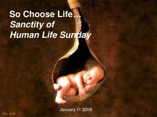 So Choose Life… Sanctity of  Human Life Sunday