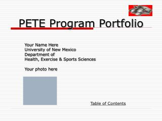 PETE Program Portfolio