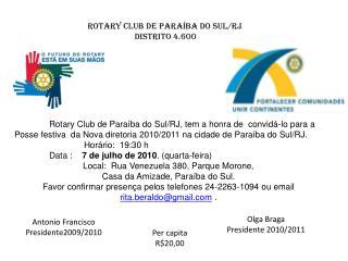 Rotary Club de Paraíba do Sul/RJ Distrito 4.600