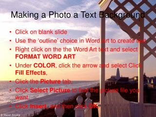 Making a Photo a Text Background