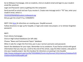 Easybib and email