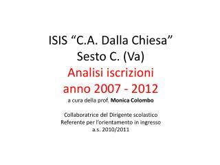 Iscrizioni 2011 - 2012 Confronti iscrizioni per indirizzo anni 2007 – 2012