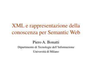 XML e rappresentazione della conoscenza per Semantic Web