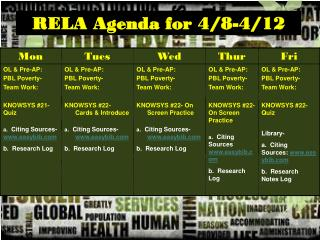 RELA Agenda for 4/8-4/12