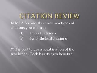 Citation Review