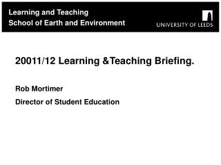 Learning and Teaching School of Earth and Environment