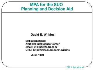 MPA for the SUO  Planning and Decision Aid