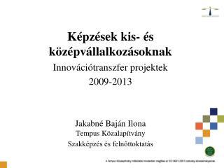 Képzések kis- és középvállalkozásoknak Innovációtranszfer projektek 2009-2013