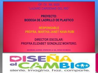 """OF. TV.  N0. 0529 """"LAZARO CARDENAS DEL RIO"""" PROYECTO:  BODEGA DE LADRILLO DE PLASTICO RESPONSABLE"""