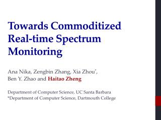 Towards Commoditized  Real -time Spectrum Monitoring