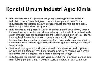 Kondisi Umum Industri  Agro Kimia