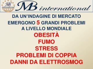 DA UN'INDAGINE  DI  MERCATO EMERGONO  5  GRANDI PROBLEMI A LIVELLO MONDIALE OBESITÀ FUMO STRESS