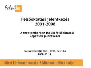 Felsőoktatási jelentkezés 2001-2008