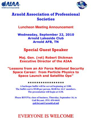 Arnold Association of Professional Societies Luncheon Meeting Announcement