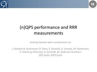 (n)QPS performance and RRR measurements