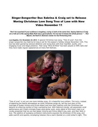 Singer-Songwriter Duo Sabrina & Craig set to Release
