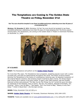 The Temptations are Coming to The Golden State Theatre