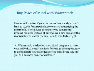 Buy Peace of Mind With Warrantech