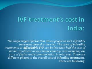 IVF treatment�s cost in India