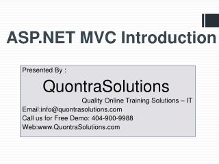 ASP.NET MVC Introduction By QuontraSolutions