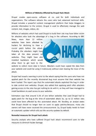Millions of Websites Affected by Drupal Hack Attack