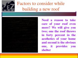 Factors to consider while building a new roof