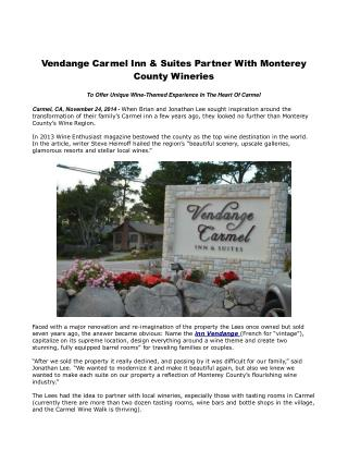 Vendange Carmel Inn & Suites Partner With Monterey County Wi