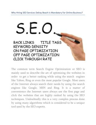 Why Hiring SEO Services Delray Beach Is Mandatory For Online