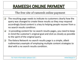 Facts about rameesh online payment in India