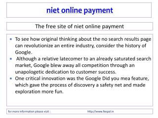 An Efficient Process about niet online payment