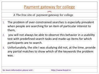 The free sites of payment gateway for college