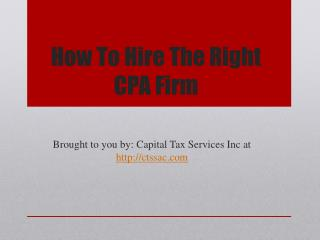 How To Hire The Right CPA Firm