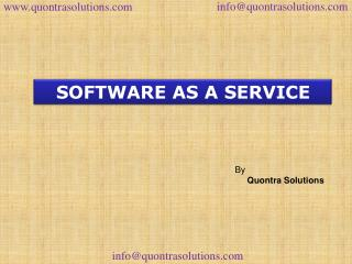 software as a service by Quontra Solutions