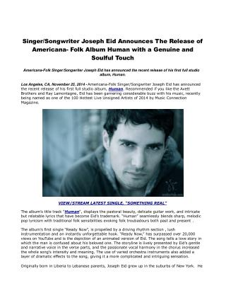 Singer/Songwriter Joseph Eid Announces The Release