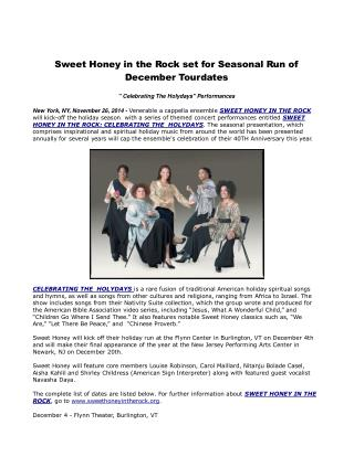 Sweet Honey in the Rock set for Seasonal Run of December Tou