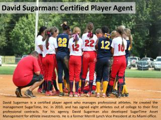 David Sugarman: Certified Player Agent