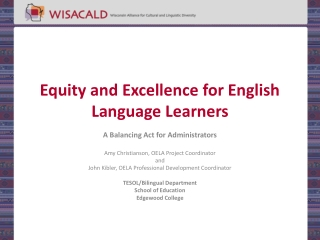 Identification of English Language Learners ELLs in Wisconsin
