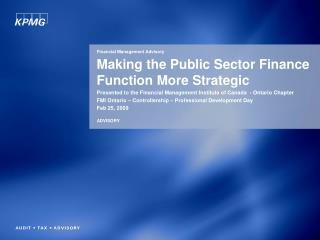 Making the Public Sector Finance Function More Strategic