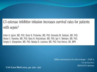 Biblio r�animation & infectiologie � DAR A Le 19/03/2012 RIDOLFO J�r�me