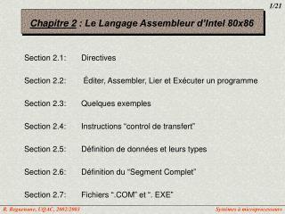 Chapitre 2  : Le Langage Assembleur d'Intel 80x86