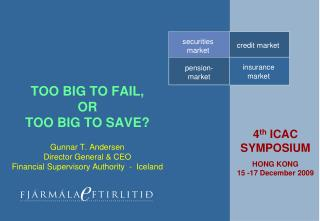 TOO BIG TO FAIL, OR TOO BIG TO SAVE  Gunnar T. Andersen  Director General  CEO Financial Supervisory Authority  -  Icela