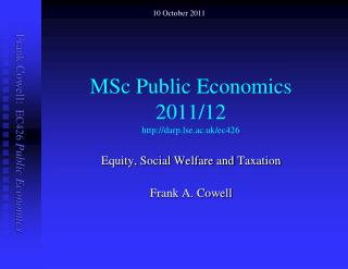 MSc Public Economics  2011/12  darp.lse.ac.uk/ec426