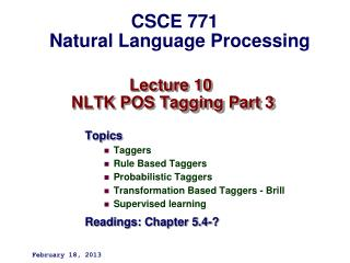 Lecture 10  NLTK POS Tagging Part 3