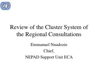 Review of the Cluster System of the Regional Consultations