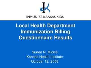 Local Health Department Immunization Billing Questionnaire Results