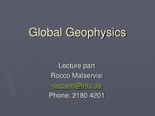 Global Geophysics