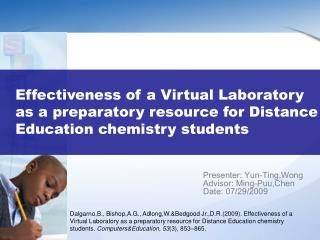 Effectiveness of a Virtual Laboratory