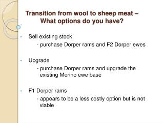 Transition from wool to sheep meat – What options do you have?